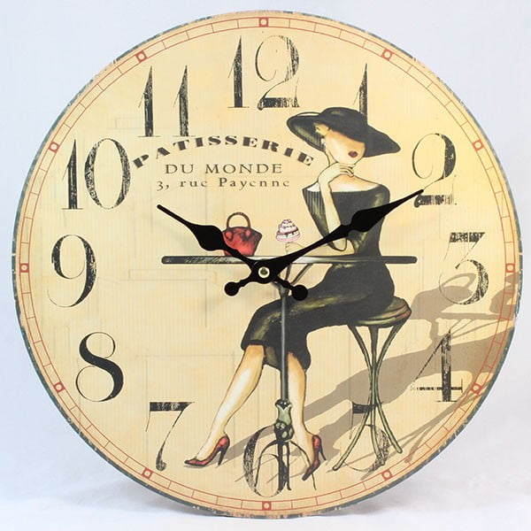 Dřevěné hodiny Du Monde