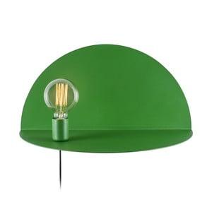 Zelená nástěnná lampa s poličkou Shelfie, výška 25 cm