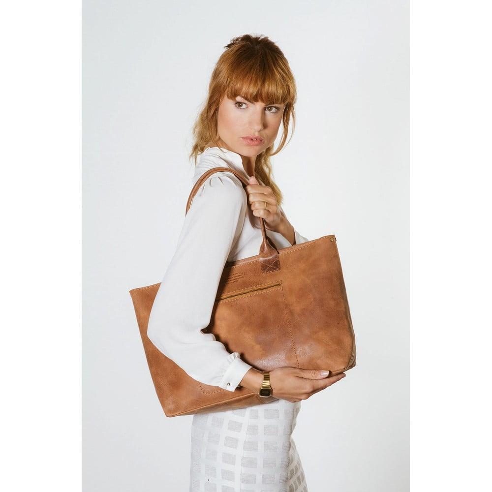 ... Hnědá kožená vintage kabelka O My Bag Madam Rose ... a9ee92b2098