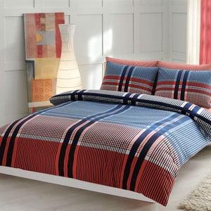 Povlečení TAC Blue and Red Lines s prostěradlem, 200x220 cm