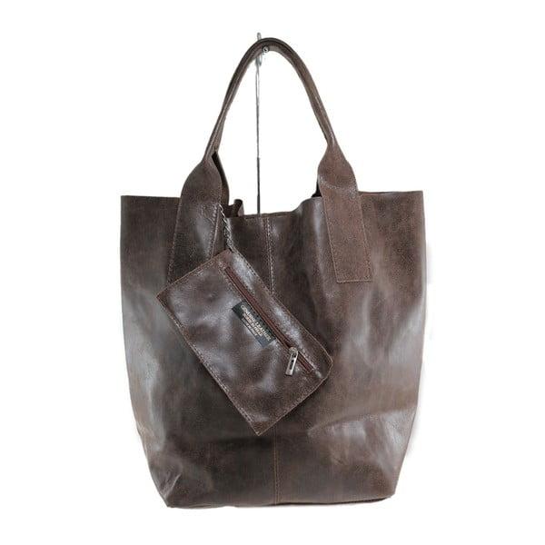 Hnědá kožená kabelka Toti