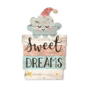 Dřevěná nástěnná dekorace Tanuki Sweet Dreams, 30x48cm