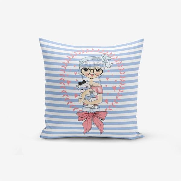 Povlak na polštář s příměsí bavlny Minimalist Cushion Covers Blue Striped Fashion Girl, 45 x 45 cm