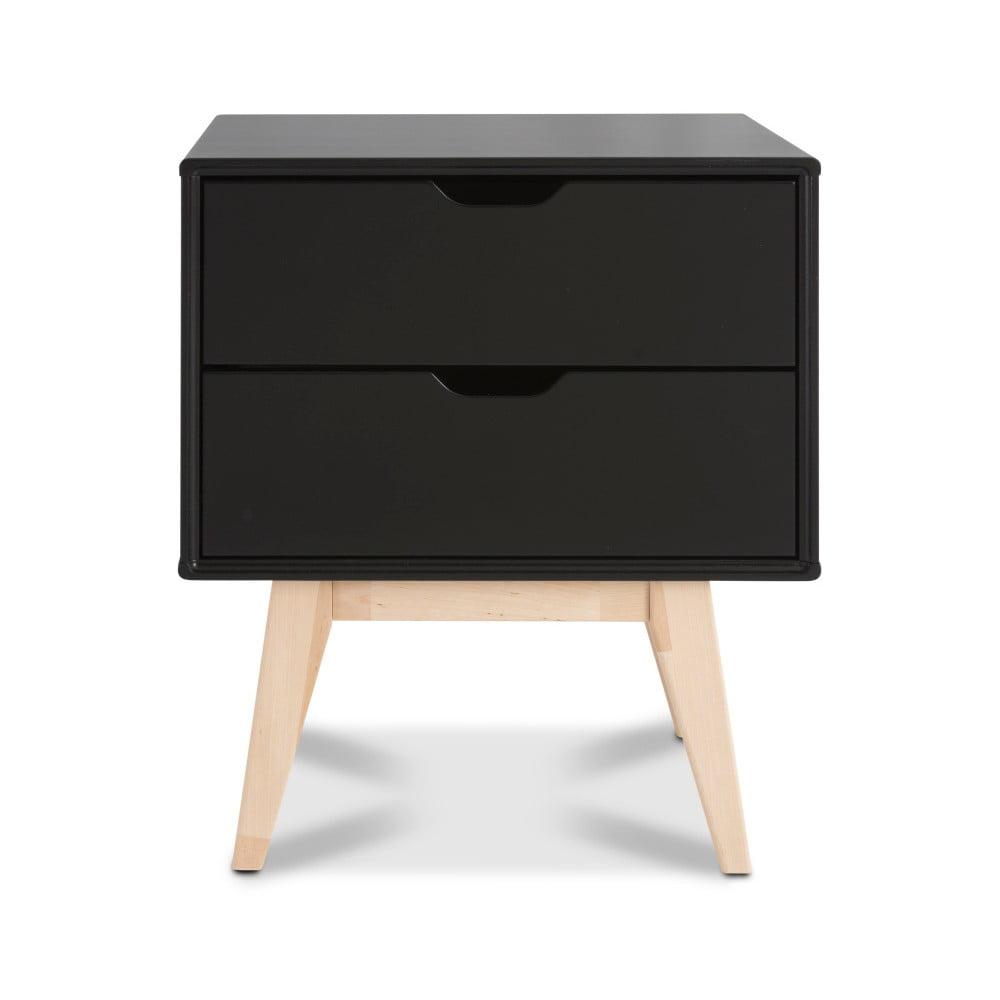 Černý ručně vyráběný noční stolek se 2 zásuvkami z masivního březového dřeva Kiteen Kolo