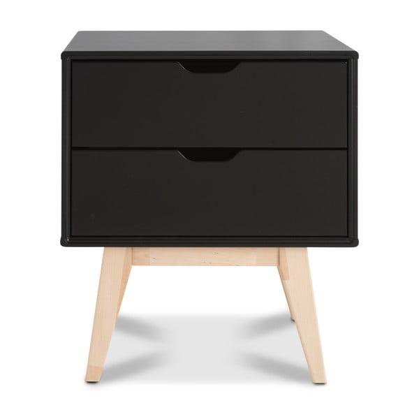 Noptieră fabricată manual din lemn de mesteacăn cu 2 sertare Kiteen Kolo, negru