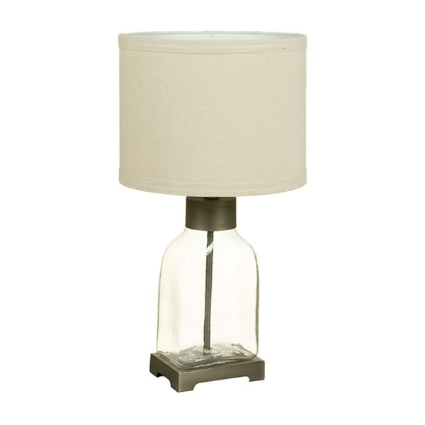 Biela stolová lampa s krištáľovou základňou Santiago Pons urobia