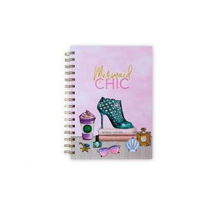 Kroužkový linkovaný sešit Tri-Coastal Design Mermaid Chic, 120 stran