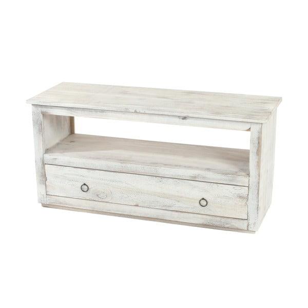 Bílý dřevěný stolek na televizi Mendler Shabby Chic