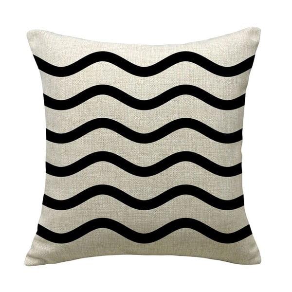Povlak na polštář Wave Black, 45x45 cm