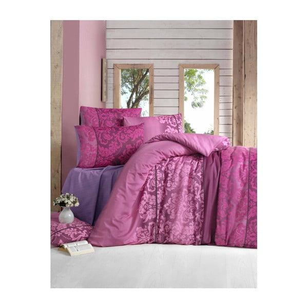Lenjerie de pat cu cearșaf din bumbac și 2 fețe de pernă Clared, 200 x 220 cm