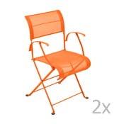 Set 2 scaune pliante cu mânere Fermob Dune, portocaliu deschis