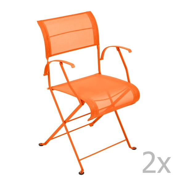 Sada 2 oranžových skládacích židlí s područkami Fermob Dune