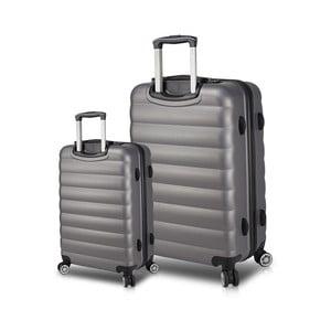 Sada 2 šedých cestovních kufrů na kolečkách s USB porty My Valice RESSNO Cabin & Large