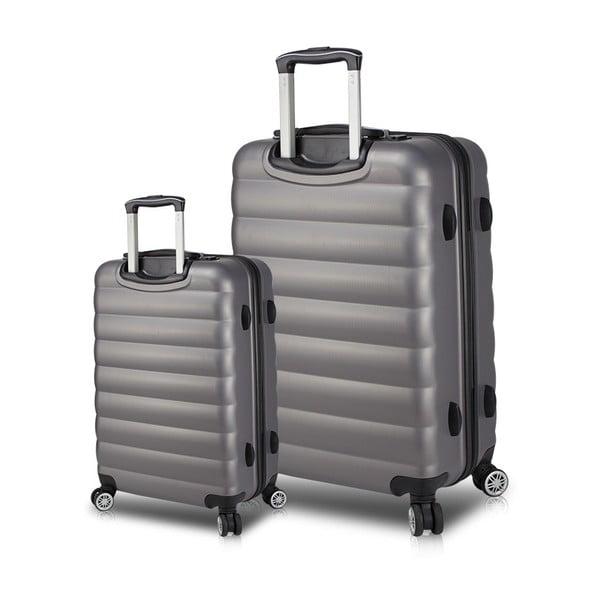 RESSNO Cabin & Large 2 szürke görgős bőrönd USB csatlakozóval - My Valice