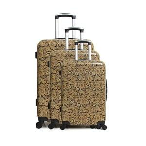 Sada 3 hnědých cestovních kufrů na kolečkách INFINITIF