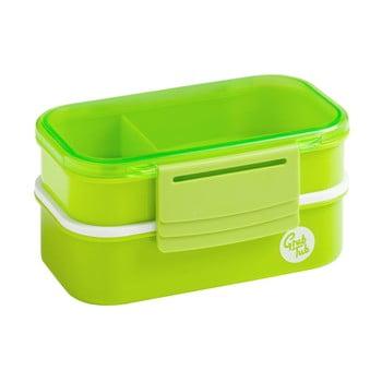 Cutie gustări cu 2 compartimente și tacâmuri Premier Housewares Grub Tub, 13,5 x 10 cm, verde de la Premier Housewares