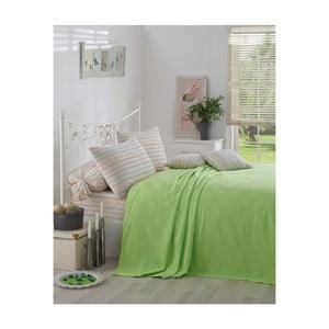 Zelený bavlněný přehoz přes postel Kare Orgu, 200x234 cm
