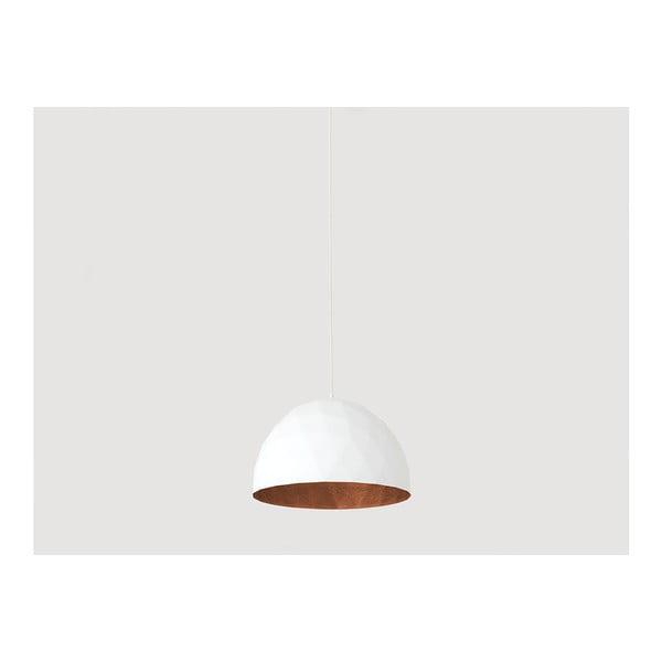 Bílé závěsné svítidlo s detailem v měděné barvě Custom Form Leonard, ø 35 cm