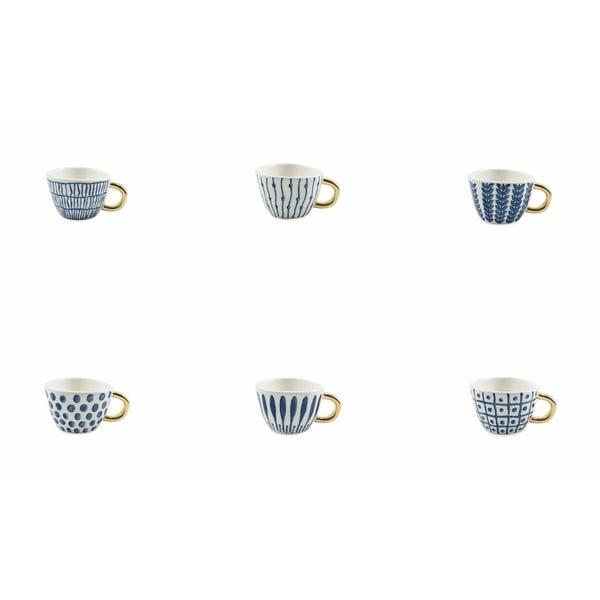 Sada 6 modro-bielych šálok na kávu z kameniny Villa d'Este Masai, 90 ml