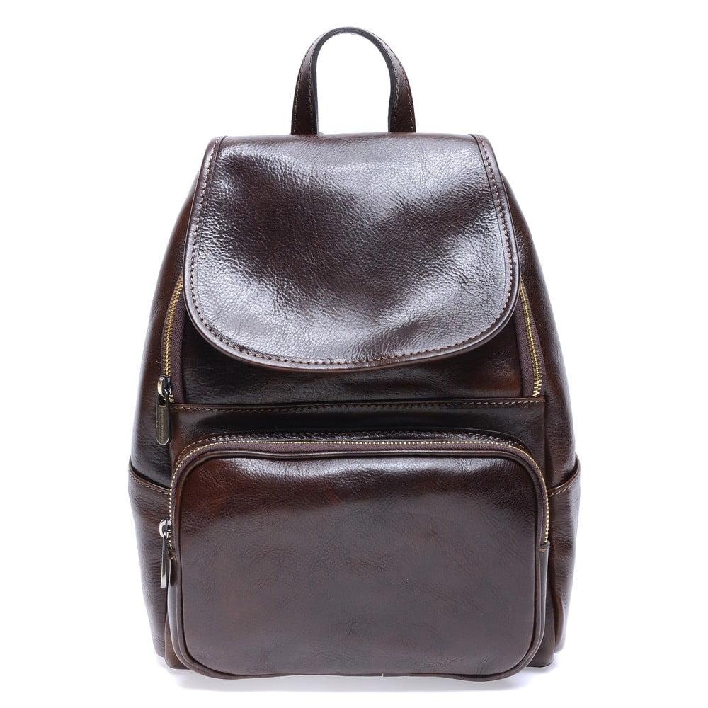 Tmavě hnědý kožený batoh Roberta M Francesca