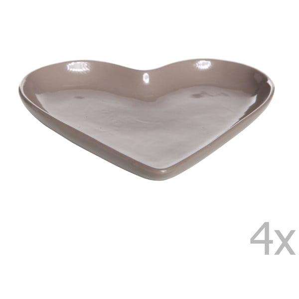 Sada 4 talířů ve tvaru srdce Heart, 22 cm