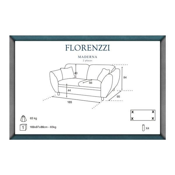 Šedo-tyrkysová pohovka pro dva Florenzzi Maderna