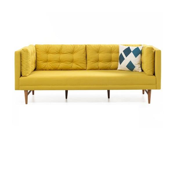 Canapea cu 3 locuri Balcab Home Eva, galben