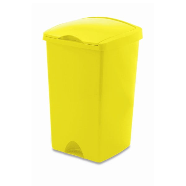Žlutý odpadkový koš s víkem Addis Lift, 50 l