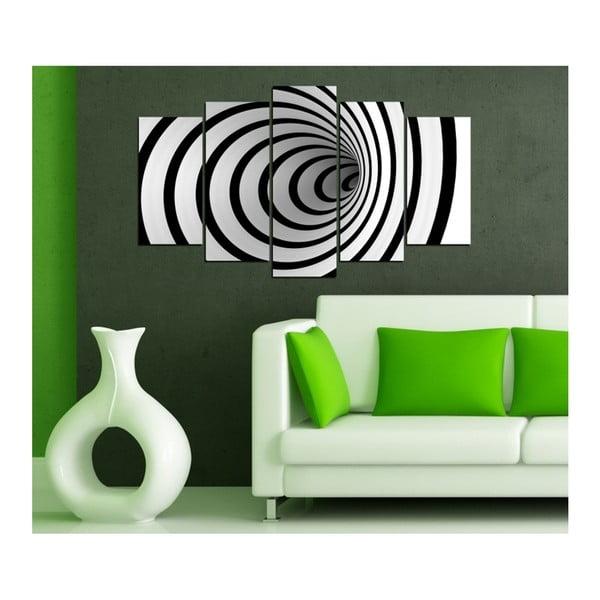 Czarno-biały obraz wieloczęściowy 3D Art Illusion, 102x60 cm