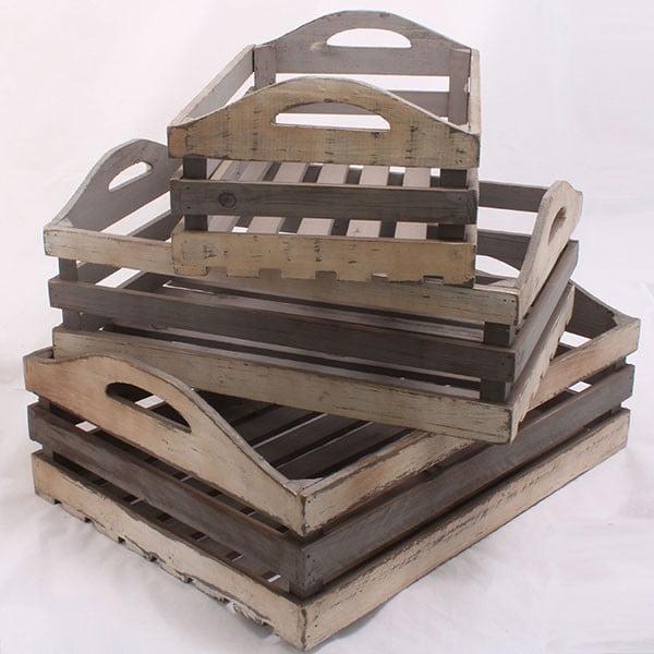 Sada dřevených přepravek, 3 ks