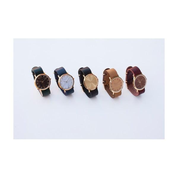 Bílé mramorové hodinky s červeným řemínkem Analog Watch Co. Classic