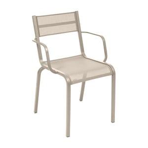 Sada 2 béžových kovových zahradních židlí Fermob Oléron Arms