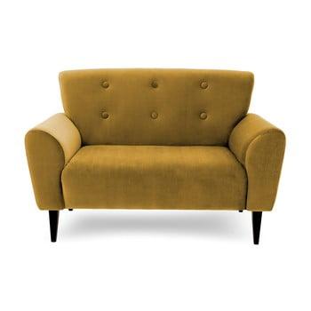 Canapea cu 2 locuri Vivonita Kiara, galben muștar de la Vivonita