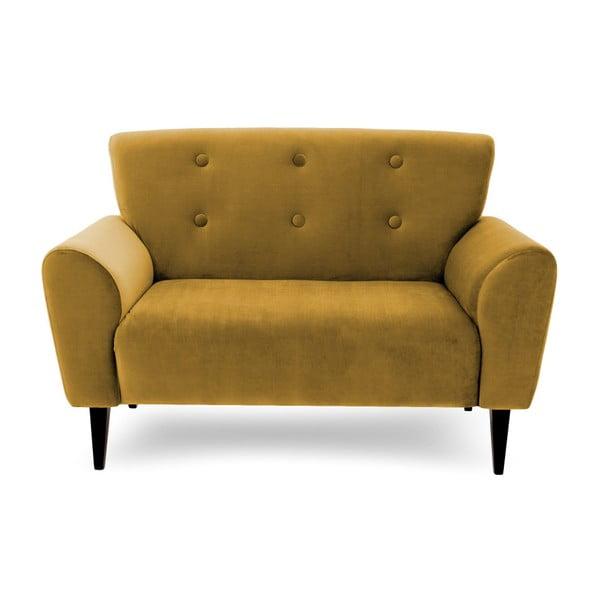Canapea cu 2 locuri Vivonita Kiara, galben muștar