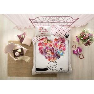 Povlečení s prostěradlem na dvoulůžko Minnie Flowers,200 x 220 cm