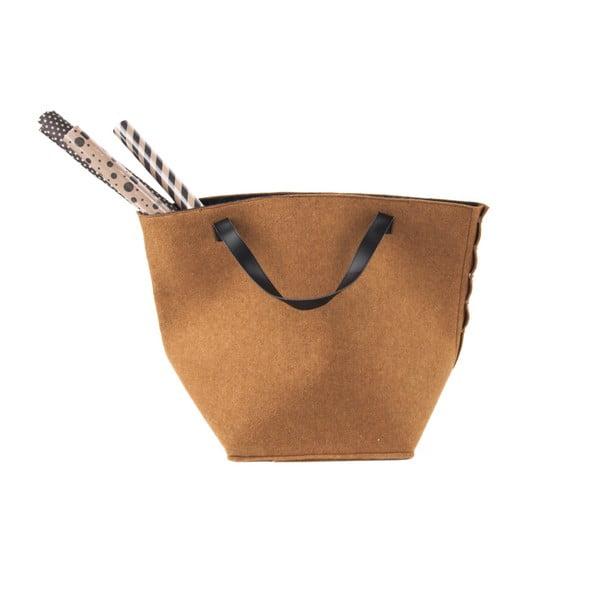 Coș pentru depozitare, cu mânere din piele, PT LIVING Storage, înălțime 42 cm, maro