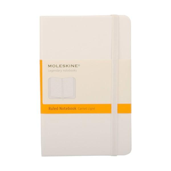 Zápisník Moleskine White Hard PKT, linkovaný