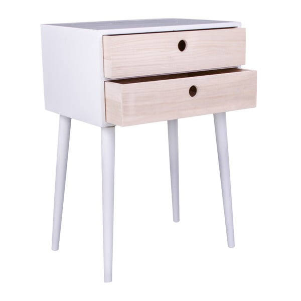 Noční stolek ze dřeva pavlovnie s bílým rámem House Nordic Rimini