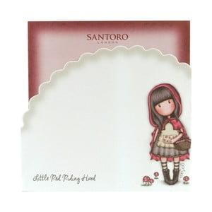 Sada červených lepících poznámkových bločků Santoro London Gorjuss Little Red Riding Hood