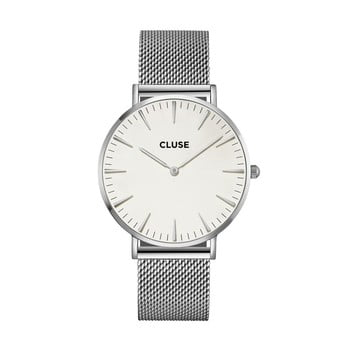 Ceas damă, curea din oțel inoxidabil Cluse La Bohéme, argintiu-alb