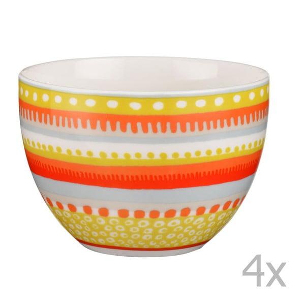 Sada 4 porcelánových misek / hrnků Oilily 10 cm, žlutá