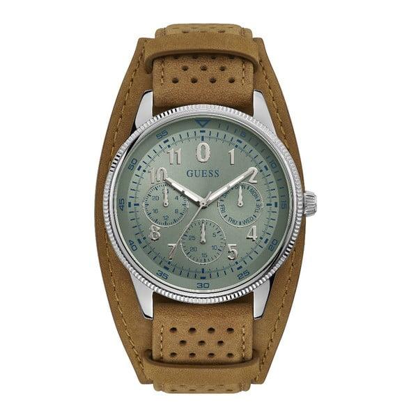Zegarek męski z paskiem ze skóry w brązowym kolorze Guess W1243G1