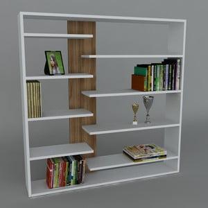 Knihovna Handy Book White/Walnut, 22x125x126 cm