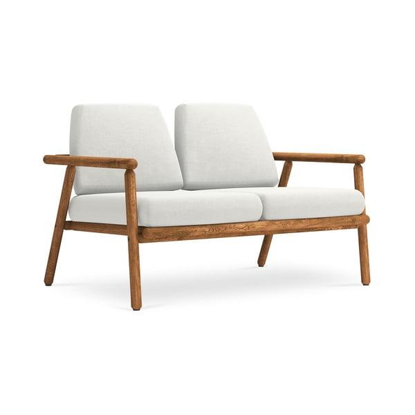 Canapea cu 2 locuri pentru exterior, construcție lemn masiv de salcâm Calme Jardin Capri, gri deschis
