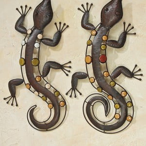 Sada 2 nástěnných dekorací Boltze Lizards, délka 53 cm