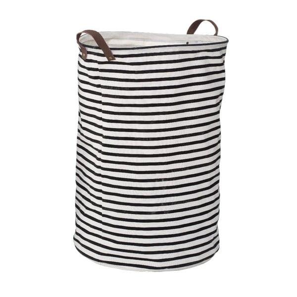 Čierno-biely pruhovaný kôš na bielizeň Premier Housewares Stripe, 69 l