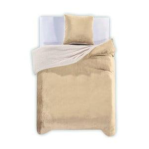 Lenjerie de pat din microfibră DecoKing Teddy, 135 x 200 cm, crem