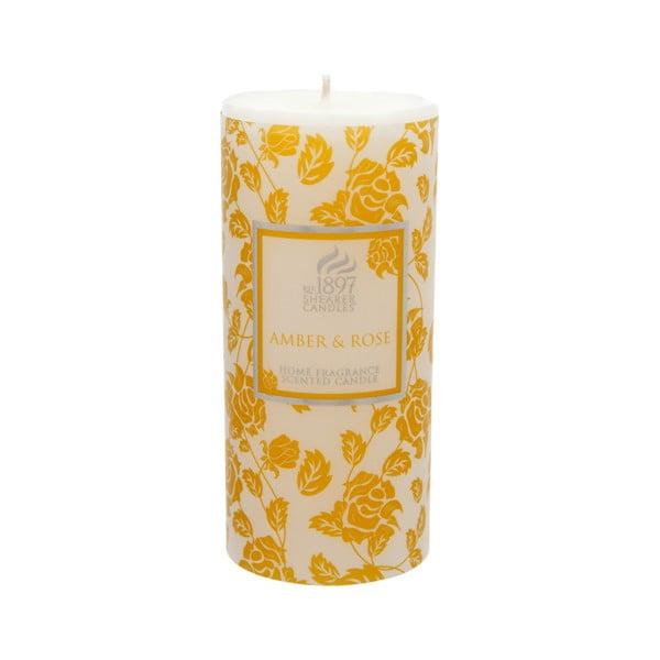 Vonná svíčka Pillar 100 hodin hoření, aroma jantar a růže