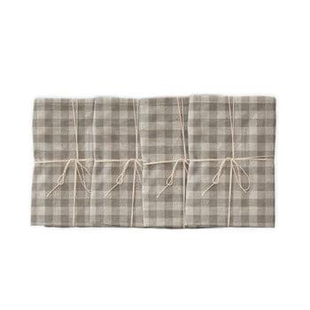 Set 4 șervețele textile Linen Couture Grey Vichy, 43 x 43 cm imagine
