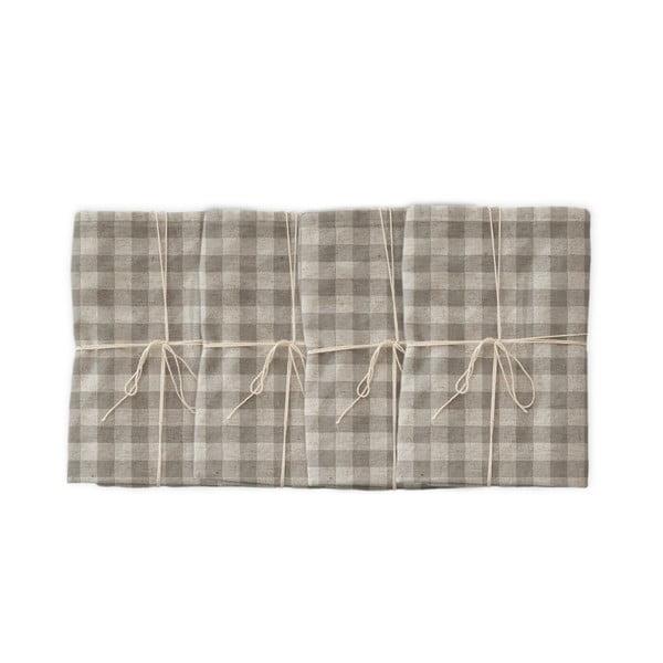 Grey Vichy 4 db szövet szalvéta lenkeverékkel, 43 x 43 cm - Linen Couture